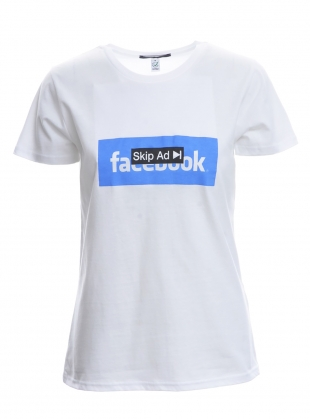 SKIP AD FACEBOOK. White T-Shirt by Simeon Farrar