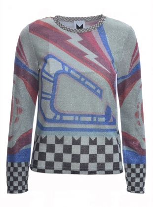 Young British Designers: Printed Lurex Long Sleeve Top by Sadie Williams