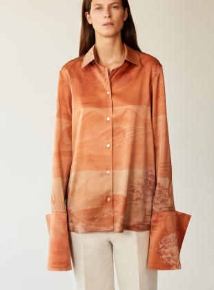 Young British Designers: 'STRUMMING ON CADMIUM' ORGANIC SILK PEACE SHIRT by BITE STUDIOS