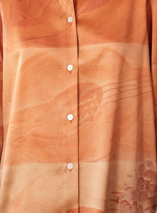 Young British Designers: 'STRUMMING ON CADMIUM' ORGANIC SILK PEACE SHIRT - last one (10) by BITE STUDIOS