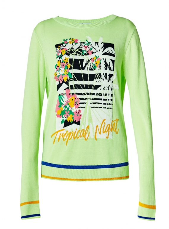 Young British Designers: Tropical Night Jumper. Lime Green by J.Won