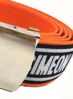 Young British Designers: Orange SF Web Belt by Simeon Farrar