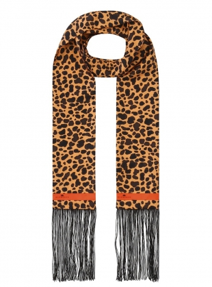 IVIE FRINGED SILK SCARF. Leonard's Skin by Klements