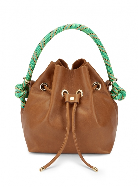Young British Designers: Tan ARM CANDY LEATHER BAG by Rogue Matilda