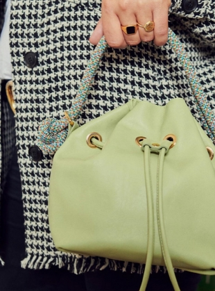 Young British Designers: Pistachio ARM CANDY LEATHER BAG  by Rogue Matilda