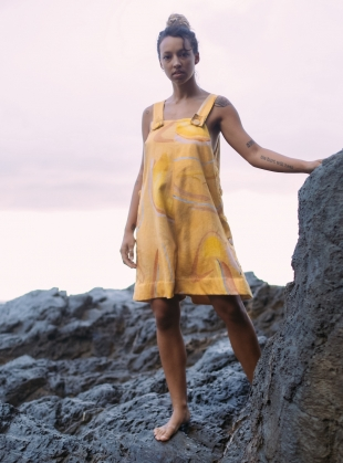 Young British Designers: AMALIA OVERALL in Sunbaker Yellow by COR Clothes