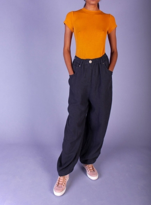 FAT BOYS LINEN TROUSERS. Navy by LF Markey