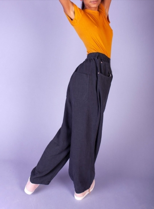 Young British Designers: FAT BOYS LINEN TROUSERS. Navy - last pair (6) by LF Markey