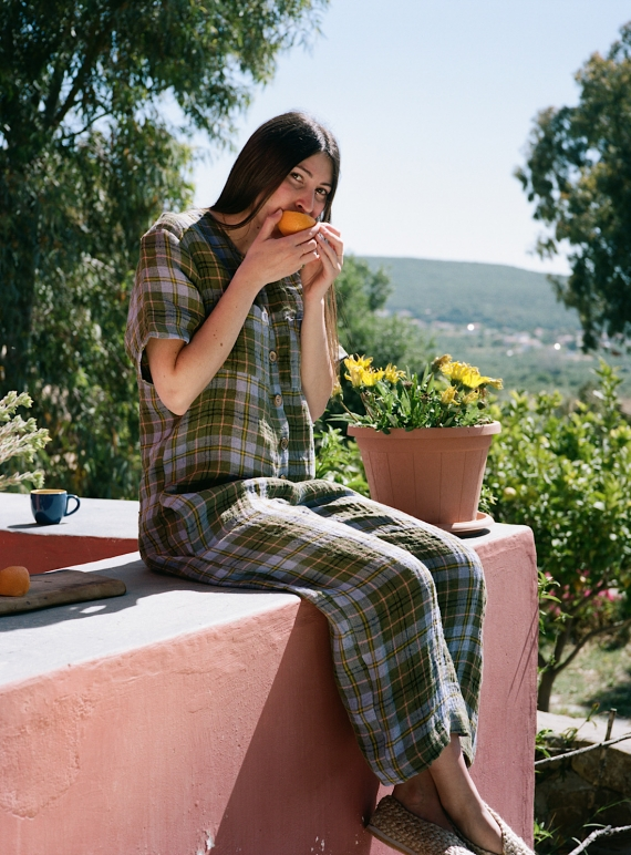 Young British Designers: EBO CHECK LINEN JUMPSUIT by Cawley