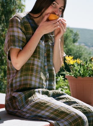 EBO CHECK LINEN JUMPSUIT - Last one (XXS) by Cawley