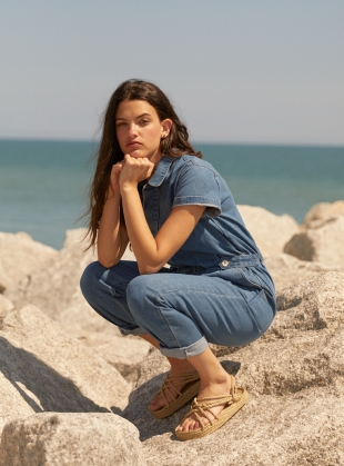Young British Designers: Recycled Denim PATTI BOILERSUIT - Last one (XS) by SIDELINE