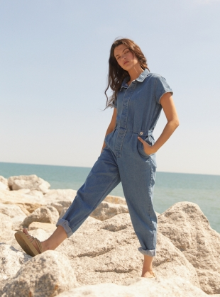 Recycled Denim PATTI BOILERSUIT - Last one (XS) by SIDELINE