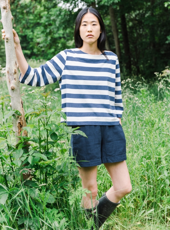 Young British Designers: GILMA ORGANIC COTTON SHORTS. Indigo.  by Beaumont Organic
