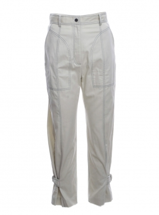 ANKLE BUCKLE TROUSERS. Beige by WEN PAN