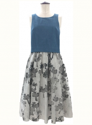 Denim Top Trees Print Dress by Simeon Farrar