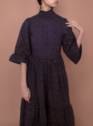 Young British Designers: CLEMATIS Navy Ditsy DRESS  by Meadows
