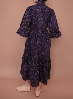Young British Designers: CLEMATIS Navy Ditsy DRESS - last one (6) by Meadows