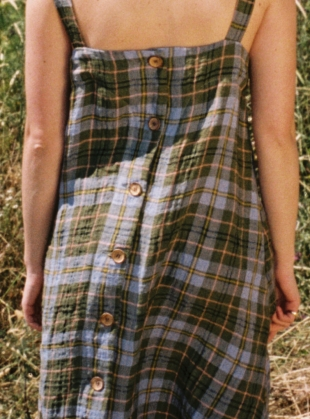 Young British Designers: SOL Check LINEN DRESS - Last one (L) by Cawley