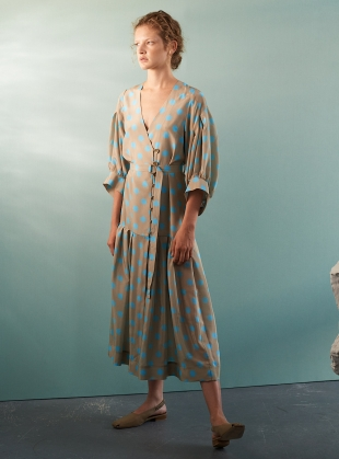 CHEYENNE DRESS. Sand and Turquoise Silk by Eudon Choi