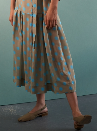Young British Designers: CHEYENNE DRESS. Sand and Turquoise Silk  by Eudon Choi