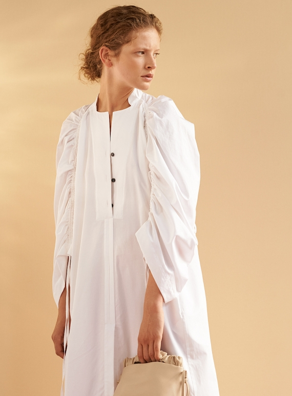 Young British Designers: JESSE SHIRT DRESS. White Cotton - Sold out by Eudon Choi