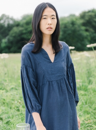 ANDREIA-MAY Linen Dress. Midnight  by Beaumont Organic