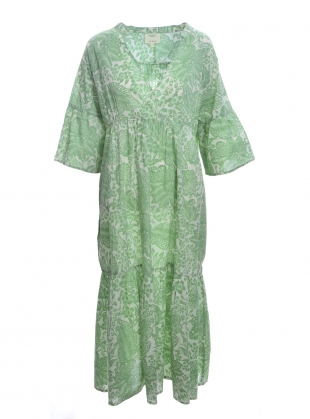 Young British Designers: TULSI ORGANIC COTTON DRESS. Green Botanical. by Beaumont Organic
