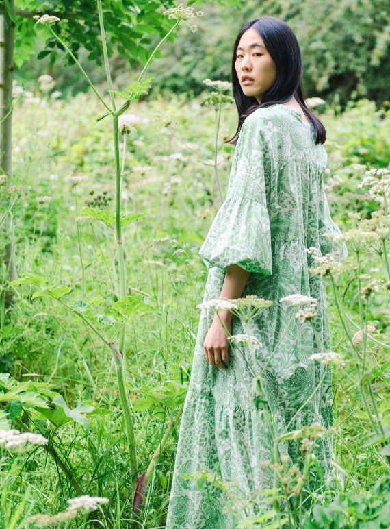 Young British Designers: TULSI ORGANIC COTTON DRESS. Green Botanical. - Sold out by Beaumont Organic