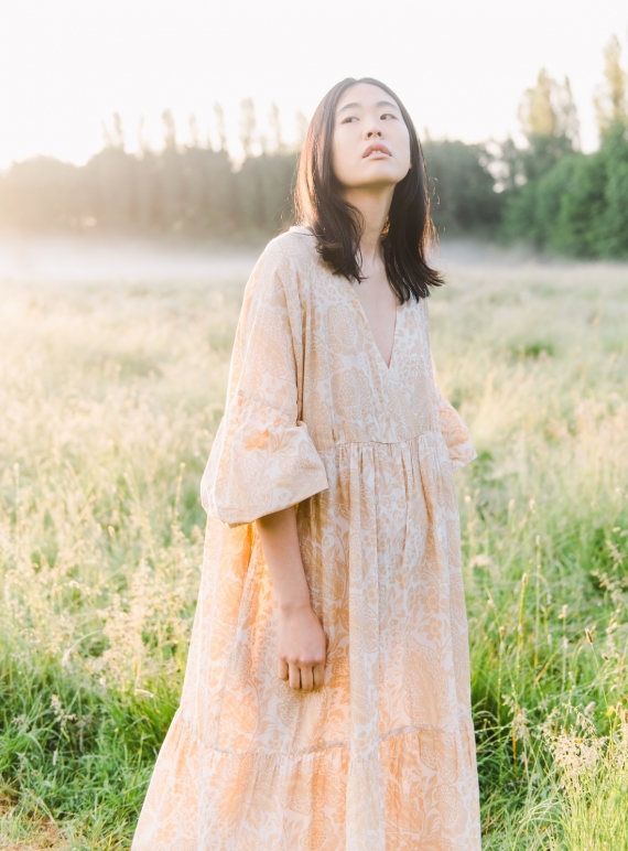 Young British Designers: TULSI ORGANIC COTTON DRESS. Ivory & Peach Botanical. - Last one (XS) by Beaumont Organic