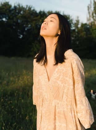 Young British Designers: TULSI ORGANIC COTTON DRESS. Ivory & Peach Botanical. by Beaumont Organic