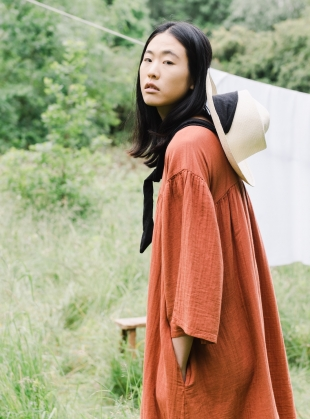 Young British Designers: DYLLA ORGANIC COTTON DRESS. Cinnamon. by Beaumont Organic