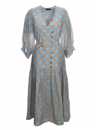 CHEYENNE DRESS. Sand and Turquoise Silk - last one(14) by Eudon Choi