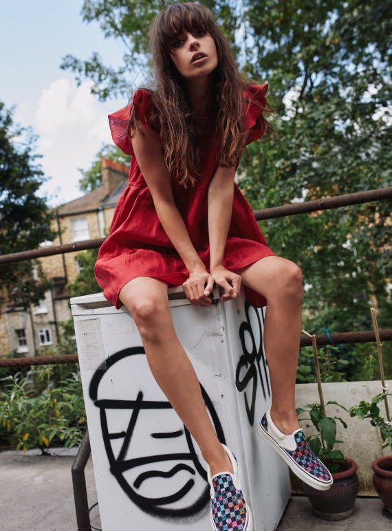 Young British Designers: CERES RED LINEN TIERED DRESS - Last one (M) by RIYKA