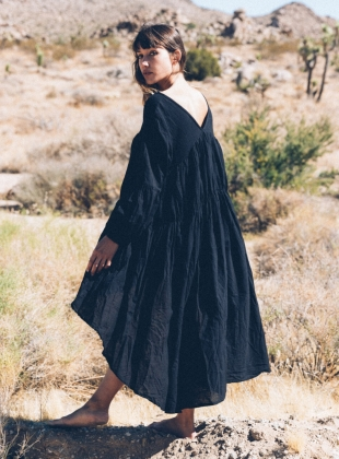 Young British Designers: TO THE MOON AND BACK BLACK DRESS by A Perfect Nomad