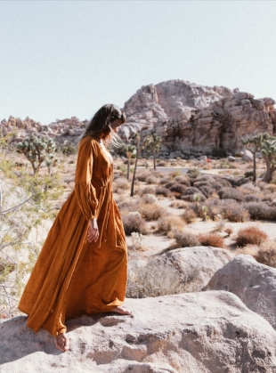 Young British Designers: WILD HEART OCHRE EARTH DRESS by A Perfect Nomad