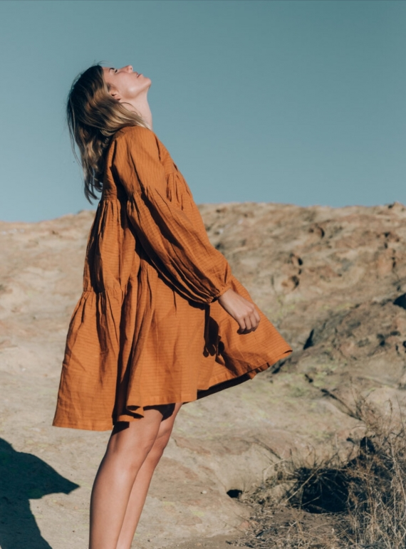 Young British Designers: SYMI OCHRE EARTH DRESS - Sold out by A Perfect Nomad