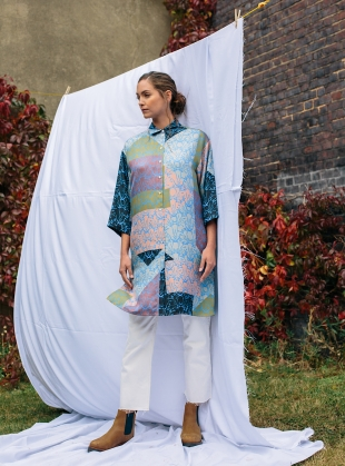 MAXIMA SHIRT DRESS. Patchwork Blue by Bella Singleton