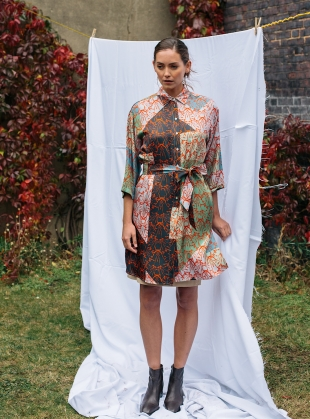 MAXIMA SHIRT DRESS. Patchwork Multi - Last one (L) by Bella Singleton