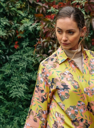 Young British Designers: MAXIMA SHIRT DRESS. Yellow Floral by Bella Singleton