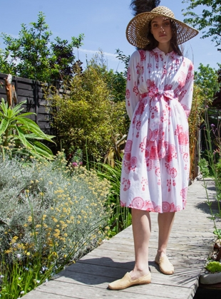 Shirt Dress. Fire Flower Red by Tallulah & Hope