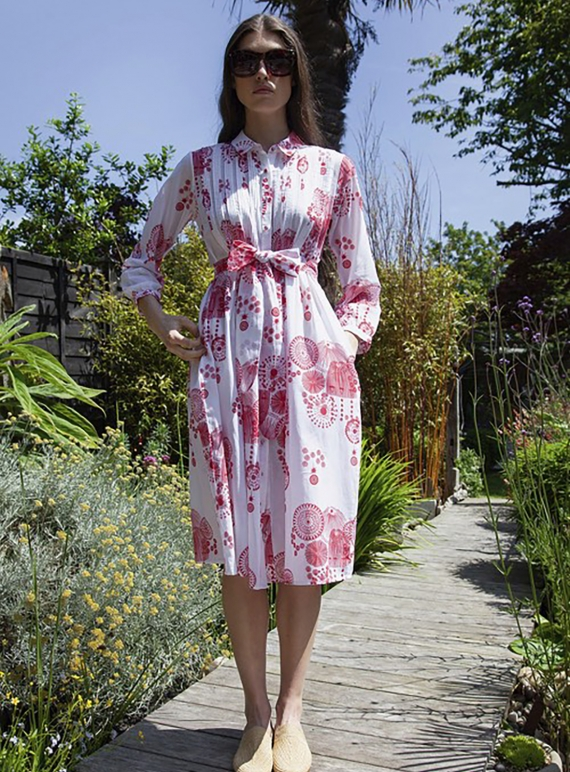 Young British Designers: Shirt Dress. Fire Flower Red by Tallulah & Hope