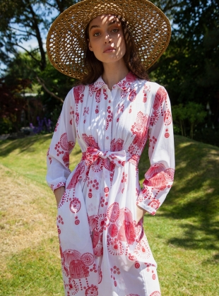 Young British Designers: Shirt Dress. Fire Flower Red - Last one (M) by Tallulah & Hope