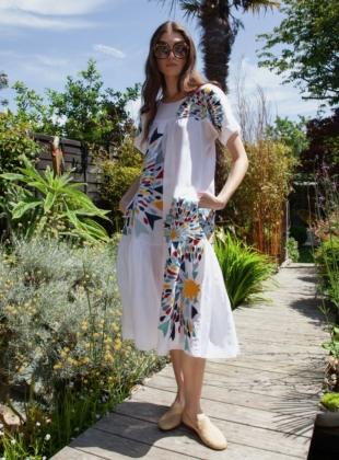 White Embroidered Zoe Pocket Dress  by Tallulah & Hope