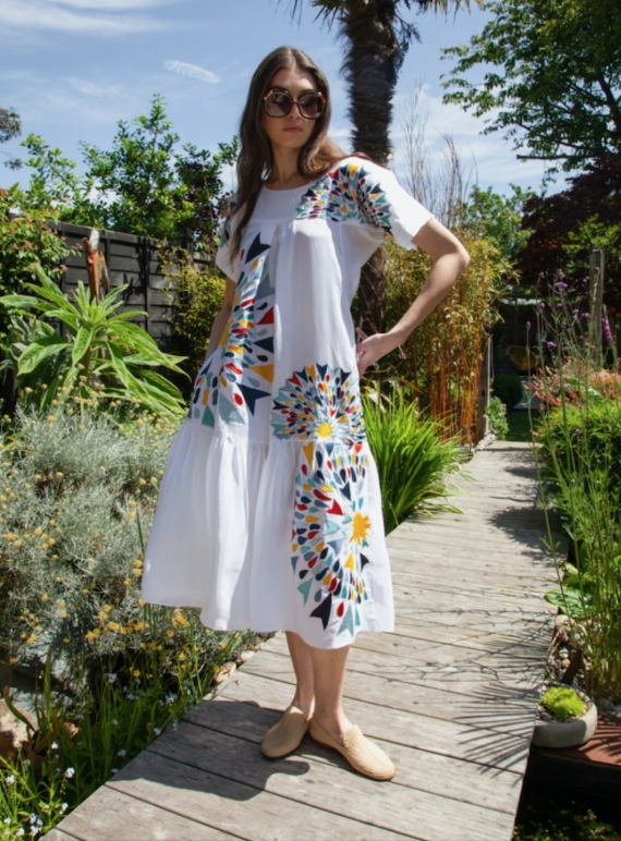 Young British Designers: White Embroidered Zoe Pocket Dress by Tallulah & Hope