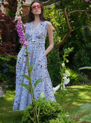 Young British Designers: SLEEVELESS COTTON DRESS. Star Shell Blue by Tallulah & Hope