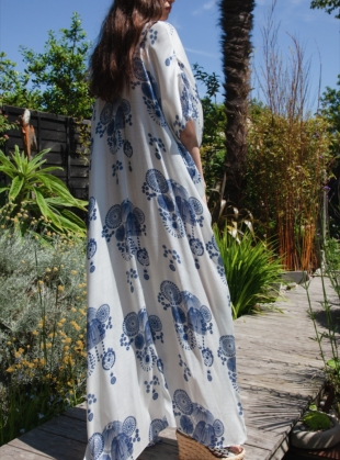Young British Designers: SALINA Kaftan Dress. Fire Flower Blue by Tallulah & Hope