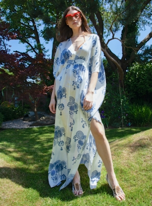 SALINA Kaftan Dress. Fire Flower Blue by Tallulah & Hope