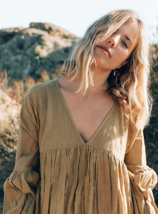 Young British Designers: TO THE MOON AND BACK KHAKI DRESS by A Perfect Nomad