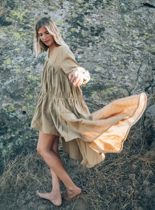 TO THE MOON AND BACK KHAKI DRESS by A Perfect Nomad