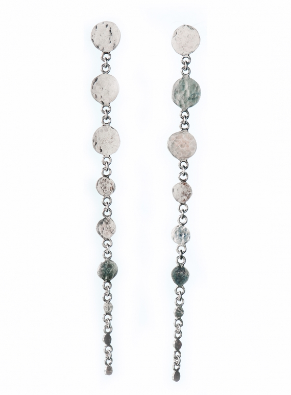 Young British Designers: Leila Sequin Drop Earrings. Silver by India Mahon